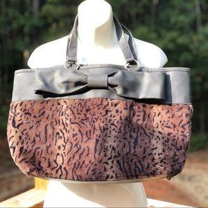 Leopard Print Bow Tote/Shoulder/Diaper Bag